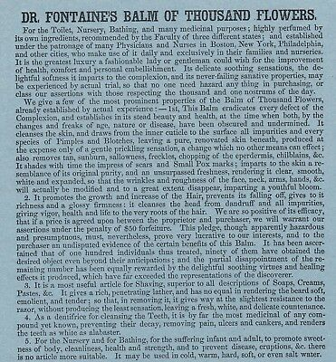 RARE Advertising Leaflet Flyer  1846 Dr Fontaine Balm of Thousand Flowers Boston 2