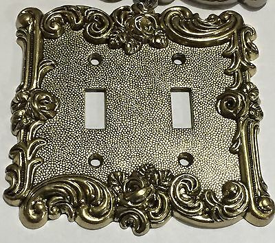 Gold Victorian Antique Vintage Rose 2 toggle Light Switch Cover Plate outlet NEW 3