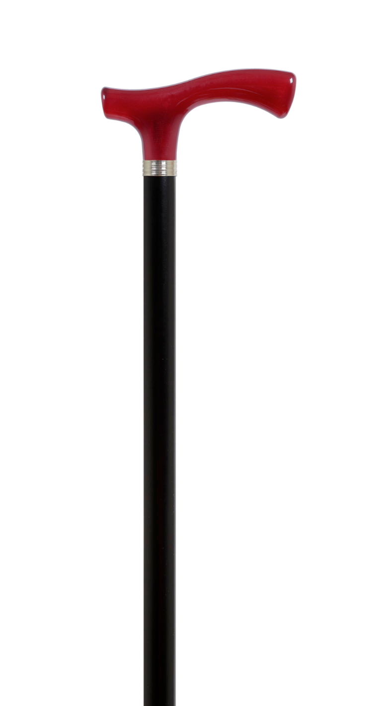 "Deep Red Wood Walking Stick Mounted On Black Beech Wooden Stick Shaft 36"" 2/4 4"
