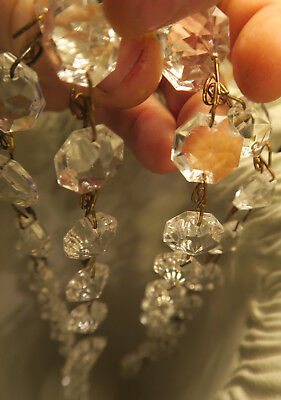 """35"""" vintage ITALY Crystal Glass Prism chain Lamp Chandelier sconce Part brass 5"""