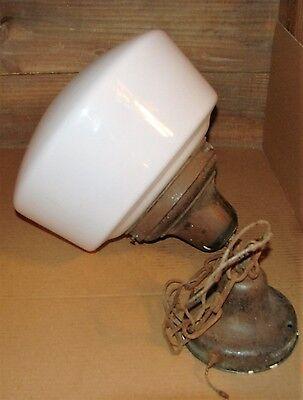 """Antique School House White Milk Glass Globe Brass Pendant Ceiling Light 12 1/2"""" 5"""