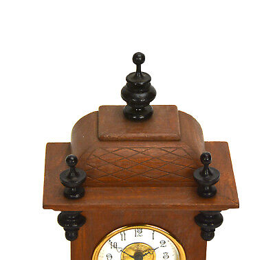 Miniature German Style Carved 3 Finial Bracket Clock with Porcelain Dial 5