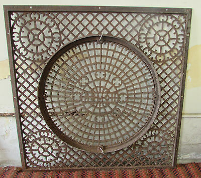 "Large Cast Iron Grate With Removable Center Salvage Repurpose 31"" Square 2"