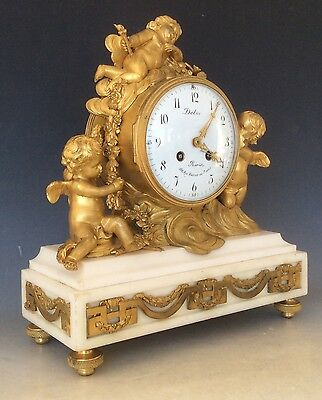 French Clock Garniture in  Gilt Bronze and Marble Circa 1880 2