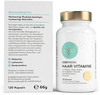 43,87€/100g Cosphera Haar Vitamine Haarkapseln 120 vegane Kapseln