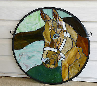 """20""""Dia Round Horse Head Tiffany Style Stained Glass Suncatcher Panel"""