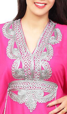 Moroccan Caftan Women kaftan Abaya Beach Cover Summer Long Dress Cotton Magenta