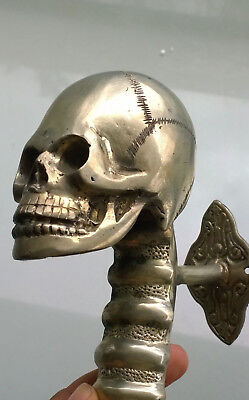 "large SKULL head handle DOOR PULL spine SILVER BRASS old vintage style 13"" B 7"