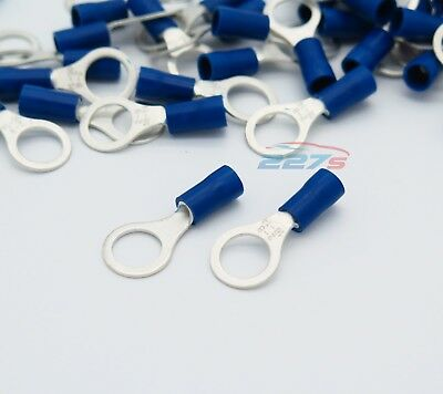 100x Blue Ring Insulated Crimp Connector Electrical Wiring Terminals- 8mm Hole 3