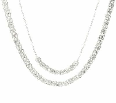 """16"""" 18"""" Layered Byzantine Chain Necklace Real 925 Sterling Silver 2 pcz QVC"""