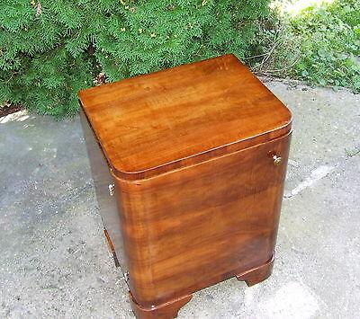 Art Deco Bedside Cabinet. Walnut Bedside Table, Nightstand. 1920 Antique Vintage 3