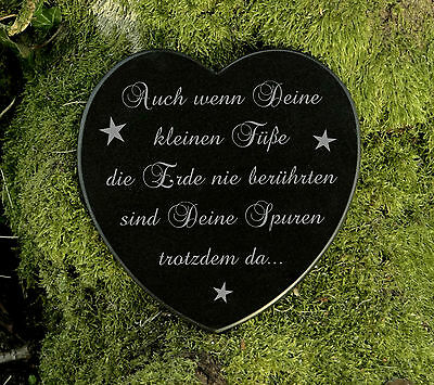 Gedenkstein Grabschmuck Grabherz Sternenkind Marmor deine kleinen Füsse 12,5 cm 2