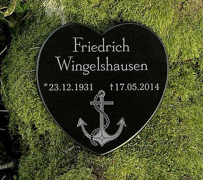 Gedenkstein Grabschmuck Grabherz Anker Marmor mit Wunschgravur 12,5 cm 2
