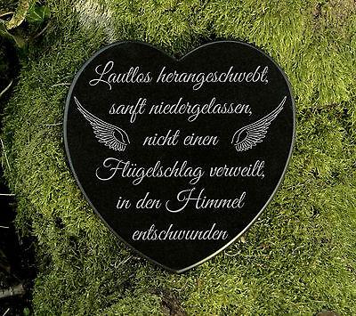Gedenkstein Grabschmuck Grabherz Sternenkind Marmor Flügelschlag 12,5 cm 2