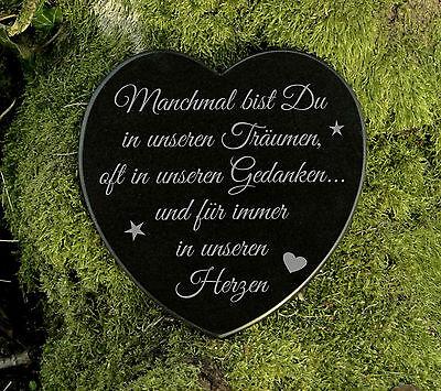 Grabherz Gedenkstein Grabschmuck Sternenkind Marmor in unseren Herzen 12,5 cm 2