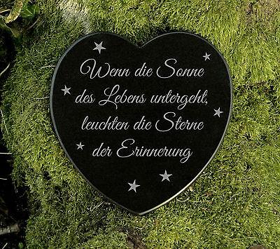 Grabherz Gedenkstein Grabschmuck Trauer Marmor Sterne der Erinnerung 12,5 cm 2