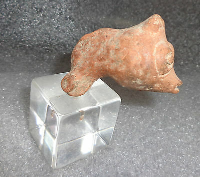 ancient south American pottery bird head fragment rattle 2