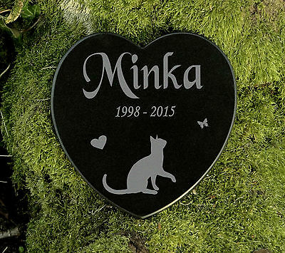 Gedenkstein Grabplatte Katze Gravur Herz Grabschmuck Marmor Wunschgravur 12,5 cm 2