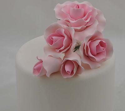 5 Pink Roses Sugar Flower Wedding Birthday Cake Decoration Topper