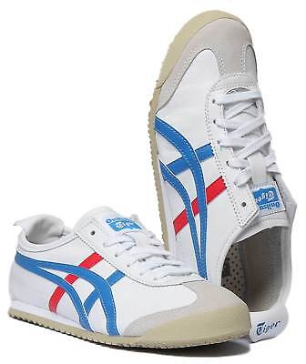Onitsuka Tiger Mexico 66 Womens Soft Leather Trainers In White Blue Size UK 3 - 5