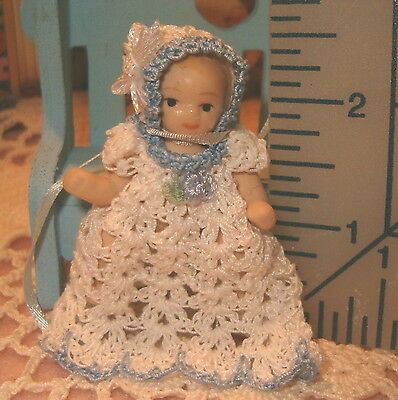 Dolls Bears Crochet Doll Gown And Bonnet Handmade Miniature Size