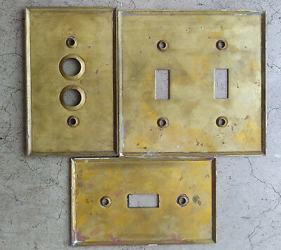 6 Nickel Art Deco & 5 Brass Copper WallPlate Covers Push Button & Toggle 3