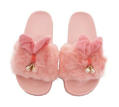 Children Kids Girls Furry Fluffy Charm Sliders Slippers Mules Flip Flops Shoes