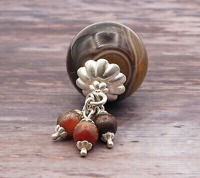 Old Eye Agate Indus Valley Sterling Silver Small Ancient Eye Agate Bead Pendant 11