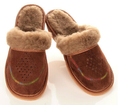 DAMEN WINTER LEDER Pantoletten HausSchuhe Pantoffeln braun