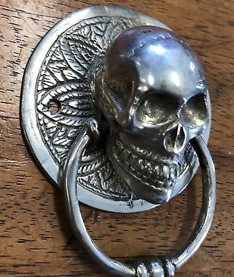 SKULL head ring pull Handle pure BRASS silver 7.5 cm day of the dead cabinet B 3
