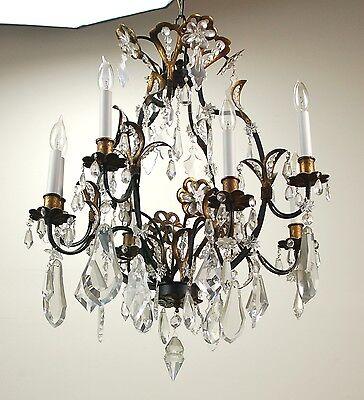 Vintage Estate Ornate Gilt Metal Vintage Crystal Chandelier 3