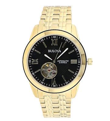 Bulova Men's 97A132 Automatic Open Heart Black Dial GoldTone Bracelet 42mm Watch 2