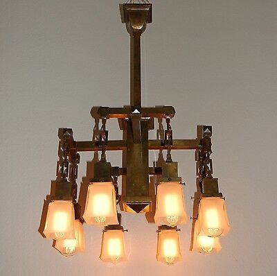Monumental 8 Arm Arts & Crafts Commercial Building Chandelier Aged Brass Patina 4