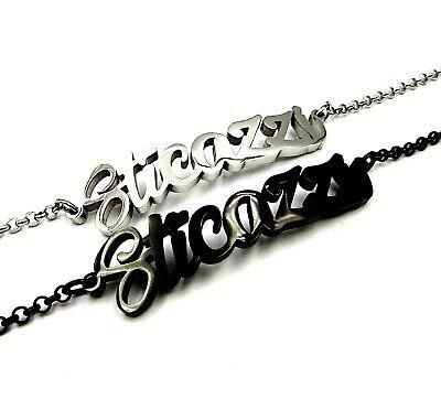 Bracciale donna in acciaio inox a maglia scritta sticazzi con braccialetto da 2