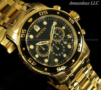 NEW Invicta Men's Pro Diver Scuba Chronograph Stainless Steel Black Dial Watch!! 3