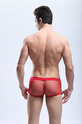 Boxer taille M rouge résille maille transparent  sheer sexy Ref M06