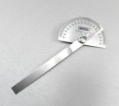 """Protractor General Tool No.18 Round Head Stainless Steel 6"""" 0-180 Degree 22024 2"""