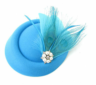 ... Sky Blue Turquoise White Feather Pillbox Hat Fascinator Hair Clip Races  Vtg 531 6 a40840bf0d8