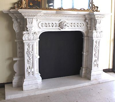 Hand Carved Carerra Marble Country French Monumental Fireplace Mantel Columns 5