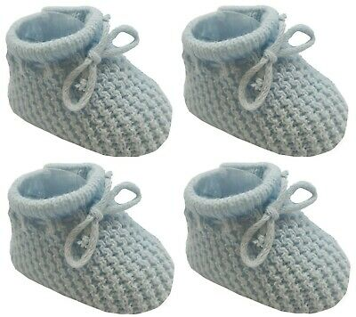 New Baby Babies Boy Girl Knitted Booties White Pink Blue Cream Size NB-3M Shoes 11