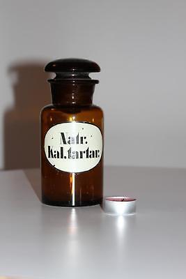 Apothekerflasche, Form selten, rund, alt, NATR. KAL. TARTAR. SCHLIFF STOPFEN