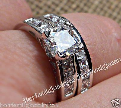 Sterling Silver 14k White Gold Princess Diamond cut Engagement Ring Wedding Set 3