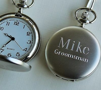 5d482fae44a57 ... of 5 Personalized Brushed Silver Pocket Watch - Groomsmen Gift -  Fathers Day Gift 4
