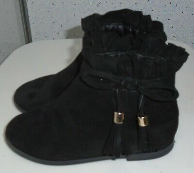 Young Girls River Island Boots Uk 7 Eur 23 Black Suede Tassles Bows Zips 3