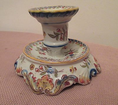 antique handmade Rouen Cornucopia French majolica porcelain candle stick holder 9