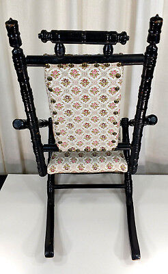 Antique Eastlake Child's Size Rocker Victorian Wooden Doll Rocking Chair Vintage 5