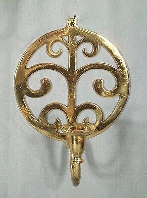 Pair Of Mid Century Modern Fleur De Lis Solid Brass Candle Sconces 3