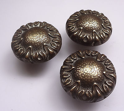 Lot 3 Vintage Solid Brass Pull handles Knobs 1 3/4'' + Backplates  Free Shipping 11