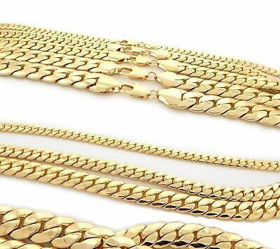 Mens Miami Cuban link Chain Necklace Bracelet 14K Gold Plated 6