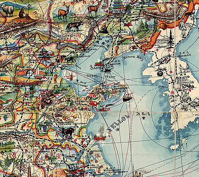 Early Midcentury China Map Wall Art Poster Vintage History Home School Office